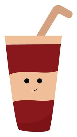 A smiling red and peach juice glass with straw. Looks yummy, vector, color drawing or illustration.