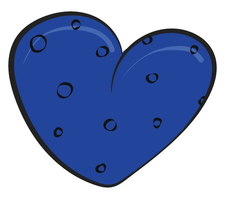 A coloured illustration of a blue coloured heart with peas on it., vector, color drawing or illustration.
