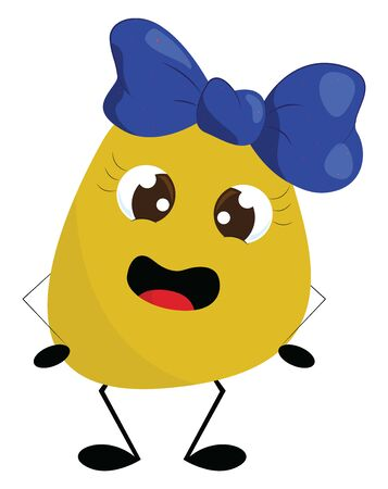 A girl round-shaped yellow monster with crossed eyes, attractive eyelashes, blue bow-clip on the center of her head and hands on her hip stands, vector, color drawing or illustration.