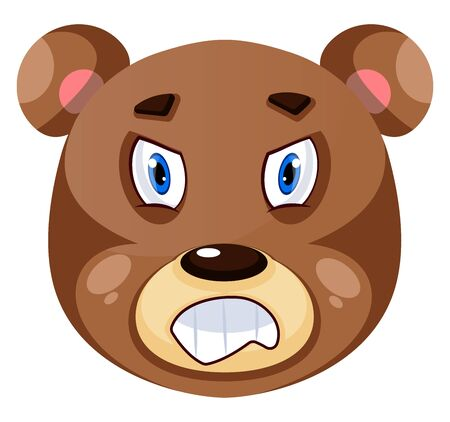 Bear is feeling mad, illustration, vector on white background.