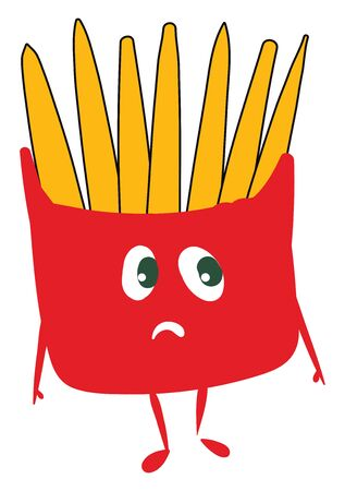 A red colored inconsolable French fries packet with two hands and legs, vector, color drawing or illustration.