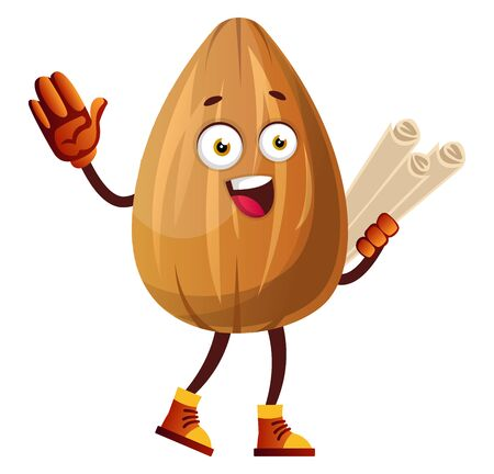 Cute brown almond carrying maps in his hand, illustration, vector on white background. 스톡 콘텐츠 - 132693198