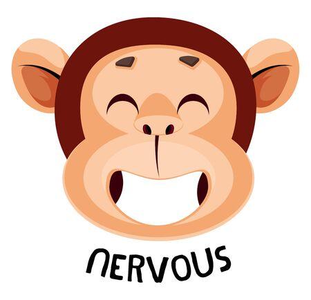 Monkey is feeling nervous, illustration, vector on white background.