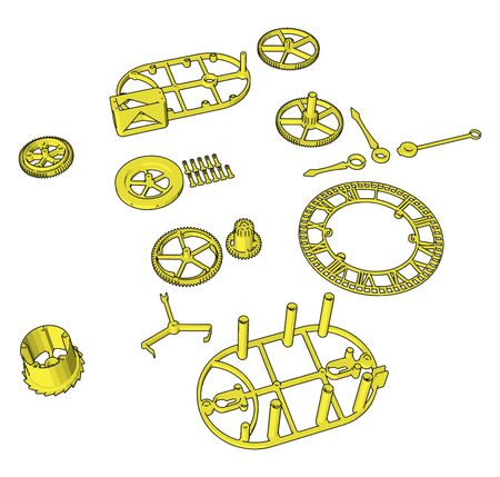 Yellow disassembled pieces, illustration, vector on white background.