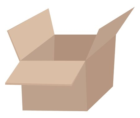 This is an image of empty corrugated box., vector, color drawing or illustration.