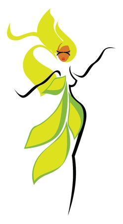 A yellow plant girl with black outline for her body, long flowing green hair and oval-shaped green leaves covering one side of her body, vector, color drawing or illustration.