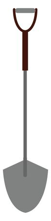A grey colored shovel with a black handle to pick up mud, vector, color drawing or illustration.