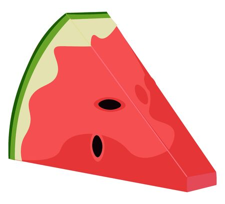 Clipart of watermelon wedge, smooth green skin, red pulp, watery juice and black seeds exposed, vector, color drawing or illustration.