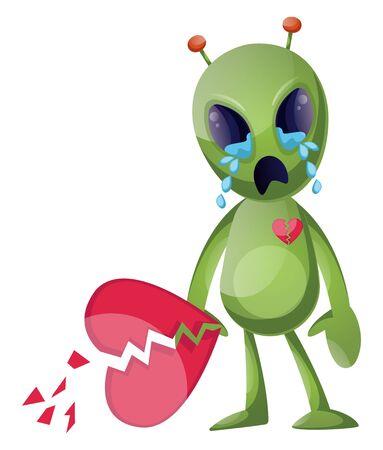 Heartbroken alien, illustration, vector on white background.