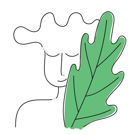 A man with eyes closed and a green colored leaf next to him, vector, color drawing or illustration.