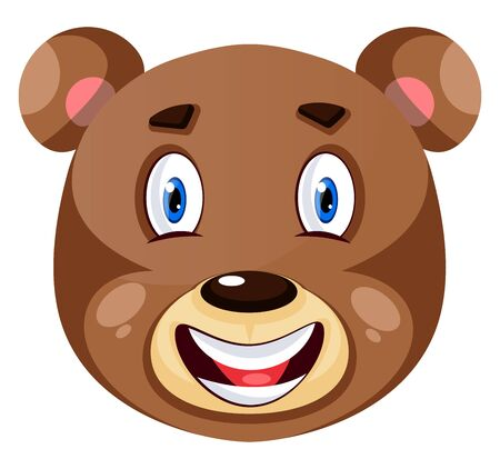 Bear is feeling happy, illustration, vector on white background.