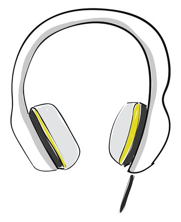 Large white and yellow headphones with cushions on the side featuring durable construction and a folding headband for storage when not in use, vector, color drawing or illustration.