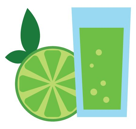 Green colored juice in transparent glass. , vector, color drawing or illustration.