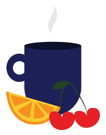 It is a small container usually have a handle and used for drinking tea, coffee, so on. It is made of china, glass, metal, and with similar materials., vector, color drawing or illustration. Ilustração Vetorial