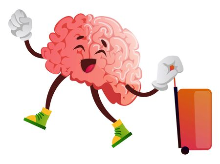 Brain is going on a trip, illustration, vector on white background. Illustration