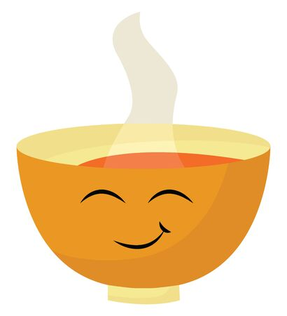 A yellow colored bowl with hot steamy soup inside, vector, color drawing or illustration. Çizim