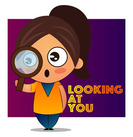 Girl with brown ponytail is looking at you through a magnifying glass, illustration, vector on white background.