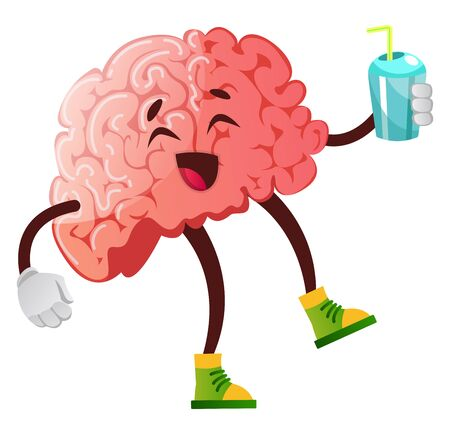 Brain is enjoying a soda, illustration, vector on white background.