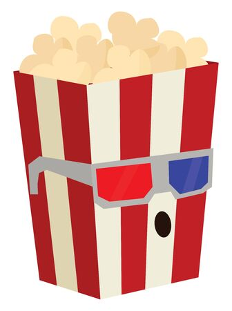Pop corn in red and white container wearing eye glasses watching movie, vector, color drawing or illustration.