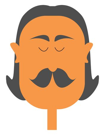 A man with long black hair, with thick and small drooping moustache, vector, color drawing or illustration. Ilustração
