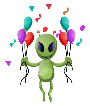 Alien with balloons, illustration, vector on white background.  イラスト・ベクター素材