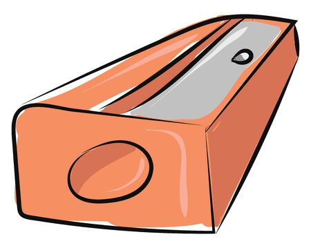 Brown colored pencil sharpener with hole and blade, vector, color drawing or illustration. Çizim