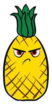 Yellow colored pineapple with green crown on top have Angry frown and angry eyes, vector, color drawing or illustration.