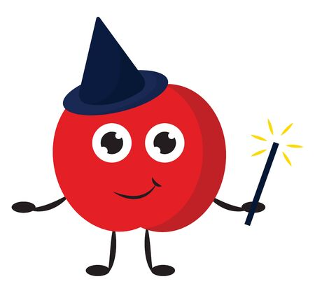 A red magic apple wearing a blue conical hat with a smile on his face, vector, color drawing or illustration.