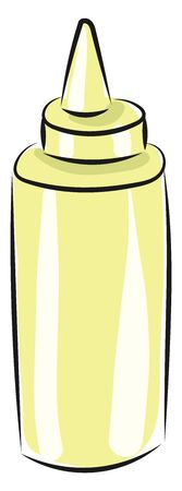 A light yellow colored mayonnaise bottle with a circular lid and a conical cap, vector, color drawing or illustration.