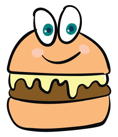 A color drawing of a burger with big eyes, vector, color drawing or illustration.