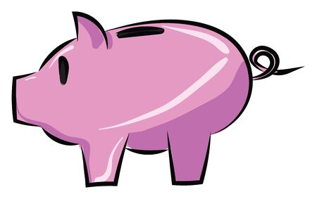 It is small children's coin bank, often shaped like a pig. It is used by children for saving money., vector, color drawing or illustration. Stock Illustratie