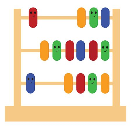 An abacus is a simple calculating device. It consists of a frame set with roods on which beads or balls are moved., vector, color drawing or illustration.