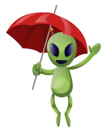 Alien with umbrella, illustration, vector on white background.  イラスト・ベクター素材