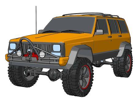 Orange off road vehicle , illustration, vector on white background. Ilustrace
