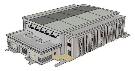 Big shopping center, illustration, vector on white background. Ilustrace