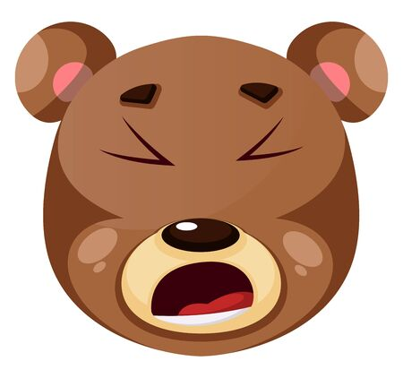 Bear is feeling fed up, illustration, vector on white background. Illustration