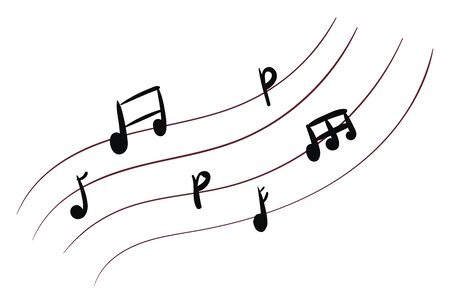 Music notes with different sound, vector, color drawing or illustration.
