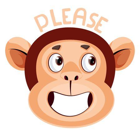 Monkey is saying please, illustration, vector on white background. Stock Illustratie