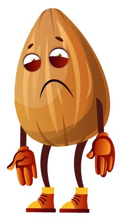 Sad looking brown Almond, illustration, vector on white background.