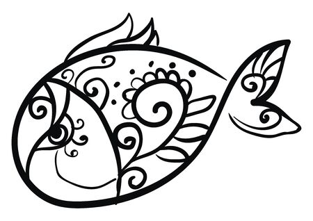 It is a piece of decorative art of a fish., vector, color drawing or illustration.