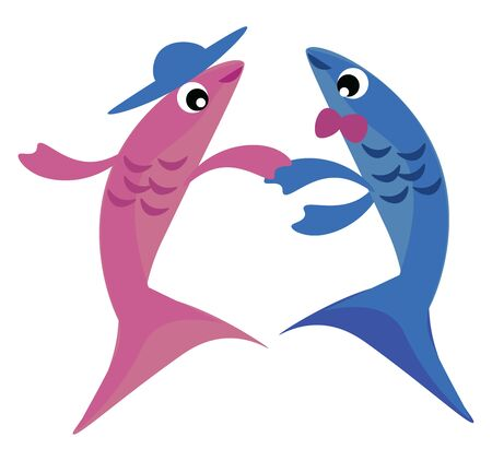 This is an image of two fishes dancing., vector, color drawing or illustration.