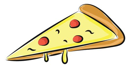 A pizza is round flat baked bread with topping of cheese and tomatoes, typically, with added meat, fish, and vegetables., vector, color drawing or illustration.