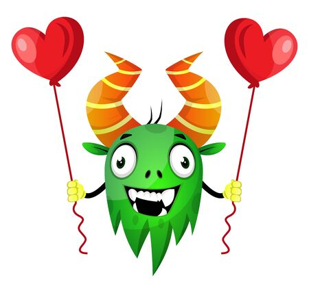 Monster with heart balloons, illustration, vector on white background.