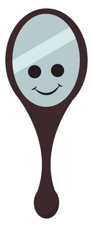 A smiling mirror with two black eyes with a black colored handle and a black colored frame with a stripe on it, vector, color drawing or illustration.