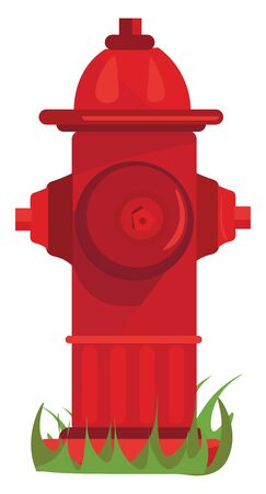 A colour illustration of a red coloured fire hydrant, vector, color drawing or illustration.