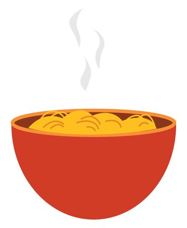 Steaming hot spaghetti in orange bowl, vector, color drawing or illustration. 向量圖像