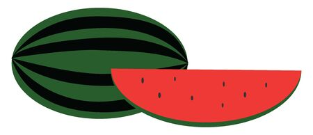Clipart of a whole and watermelon wedge, smooth green skin, red pulp, watery juice and black seeds exposed, vector, color drawing or illustration.
