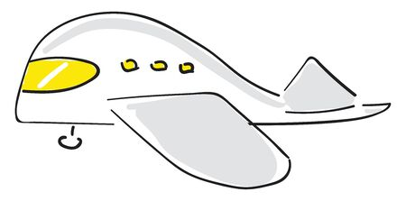 Painting of a white airplane a powered flying vehicle with fixed wings and through which people love to take their journeys by flight , vector, color drawing or illustration. Illustration