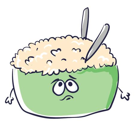 A green colored tureen filled with rice and two spoons inside having a sad face, vector, color drawing or illustration.