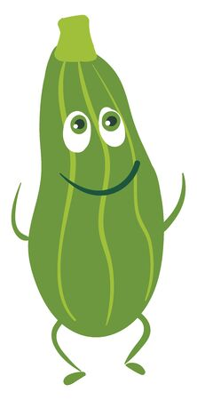 The Smiling an dancing green blessed Zucchini , vector, color drawing or illustration.